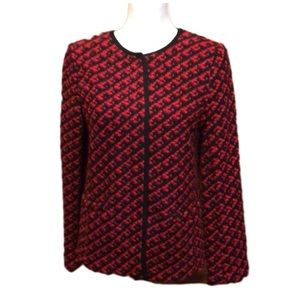 Talbots Jacket Wool Red Black Small Snap Buttons